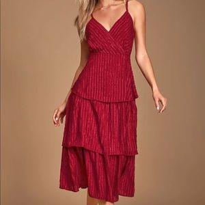Wine red stripped tiered midi dress